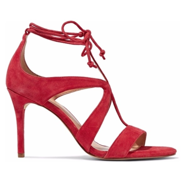 d8be378defe247 Halston Heritage Shoes - New Halston Heritage Jordan Red Suede Sandals 5.5